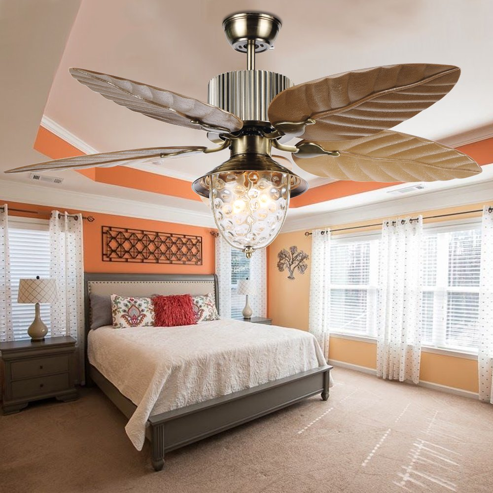 Tropicalfan Tropical Leaf Ceiling Fan With One Light Cover Indoor Home Dinner Room Living Room Quiet Windward Fans Chandelier 5 Plastic Reversible Blades 52 Inch Yellow by Tropical Fan (Image #6)
