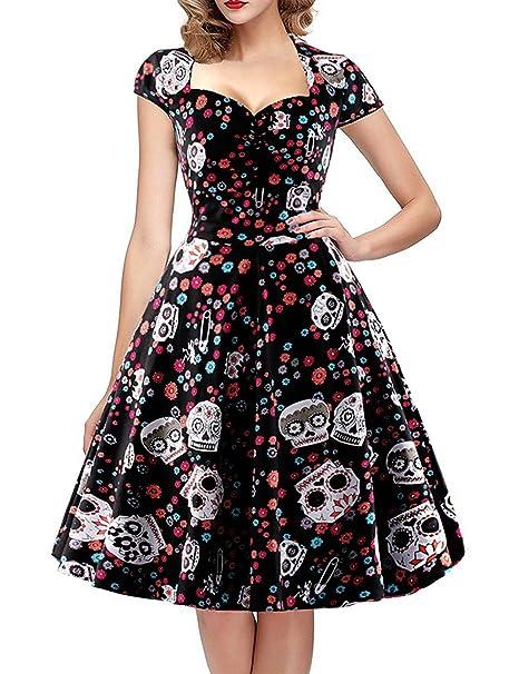 Là Vestmon Skull Print Flower Cap Sleeve Swing Vestido Vintage
