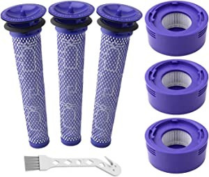 Wolfish 6 Pack Vacuum Filter Replacement Kit for Dyson V7 & V8 Absolute and Animal Cordless Vacuums, 3 HEPA Post Filter, 3 Pre Filter, Replacement Part Part 965661 & 967478