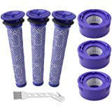 6 Pack Vacuum Filter Replacement Kit for Dyson V7, V8 Animal and V8 Absolute Cordless Vacuum, 3 Post Filter, 3 Pre Filter, Re