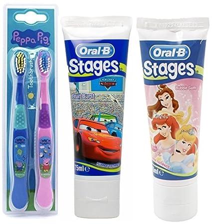 Peppa Pig Kids – Cepillo de dientes para niños producto oficial de Twin Pack & 2