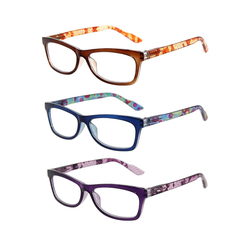 LianSan Fasion Ladies Reading Glasses Rectangular flower frame L3706 3packs+1.75 CA-L3706-3PACK175