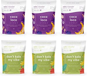 Rollin' n Bowlin' Frozen Fruits and Veggies Smoothie Mix with Nut Butter. 2 Flavors. Vegan, No Sugars Added. Subscription Box: 6 Pouches Protein