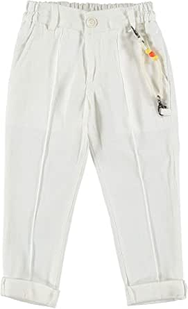 MANUELL&FRANK Pantalón largo de mezcla de lino crema para niño MF1185B