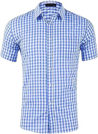 Evelure - Camisa de manga corta para hombre, diseño de cuadros azul claro M: Amazon.es: Ropa y accesorios
