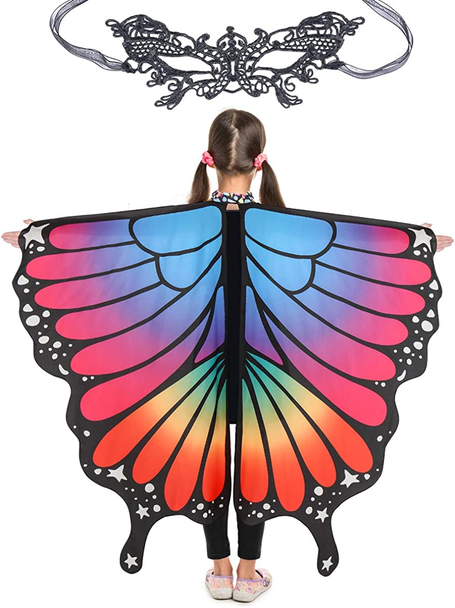 Butterfly Wings for Girls Kids Halloween Costume Fairy Shawl Festival Rave Dress: Clothing