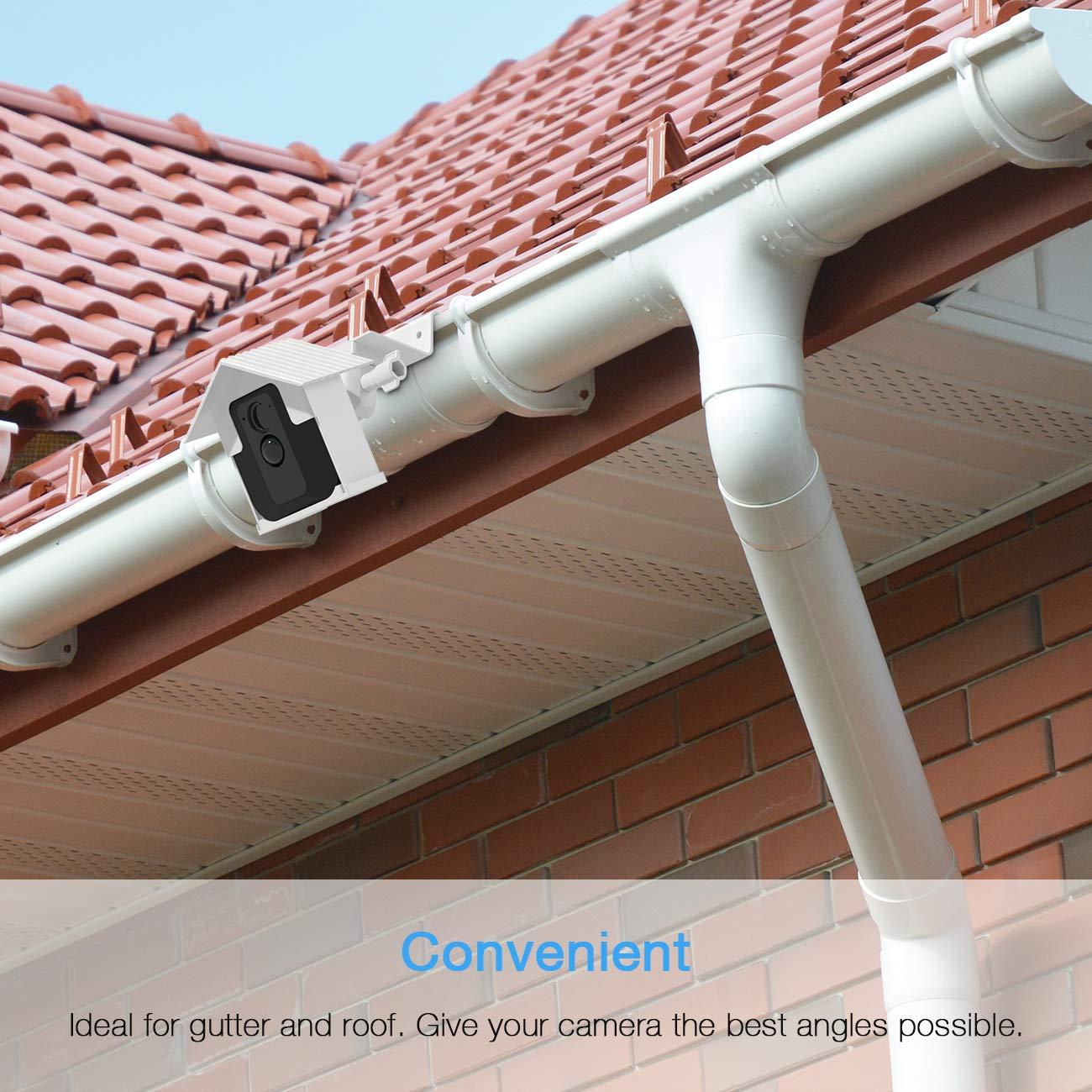 Bianco Kit staffa per montaggio a parete BECEMURU Weather Proof Roof con stabilit/à Gider Mount Gutter impermeabile pi/ù ampio per Blink XT