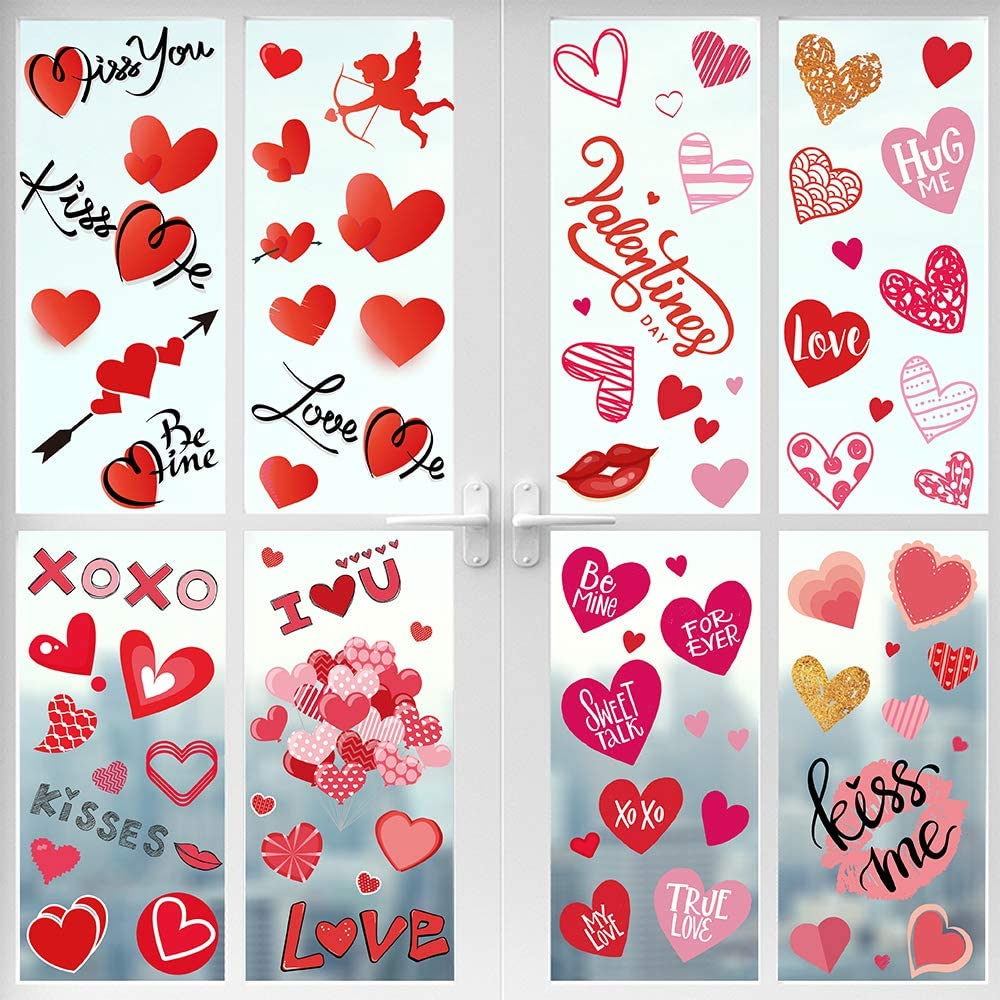 311 Pcs Valentine's Day Window Clings Decorations - 8 Sheet Heart Party Ornaments Supplies- Anniversary, Wedding, Birthday Party Decorations - for Home Office Valentines Day Décor