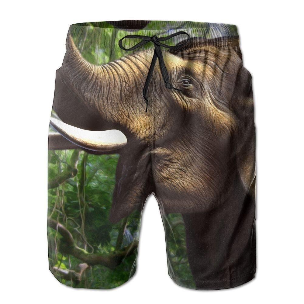 White Beach Pants Elephant Eat Men's Workout Gym Short Shorts Pockets Sweatpants Waist Tension Design