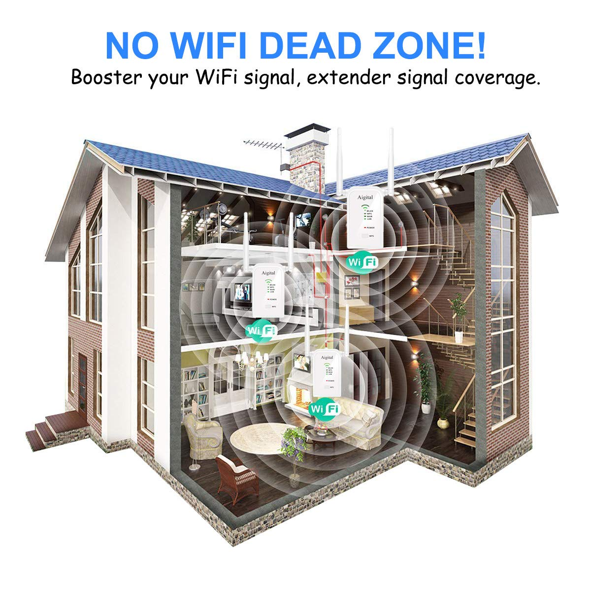 Multifunktion WiFi Range Extender 2.4GHz Aigital WLAN Repeater Router Signal WLAN Verstaerker 300Mbits, LAN Port, WPS, AP//Router//Repeater Modus Kompatibel mit Allen WLAN Ger/äten