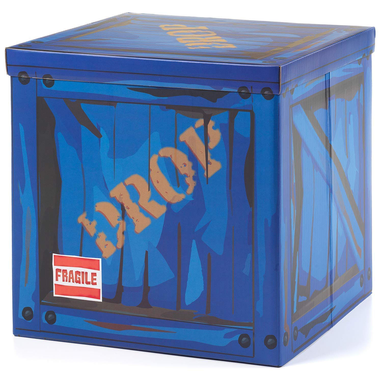"""Large Loot Drop Box Accessory (14"""" x 14"""" x 14"""") - Goes with Merch Like Pickaxes, Guns, Costumes - Perfect Decoration Gift for Gamers, Boys, Parties"""