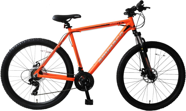 Ammaco Osprey V1 27.5 Wheel Front Suspension Mountain Bike 21 Speed Mechanical Disc Brakes 16 Frame Orange//Black