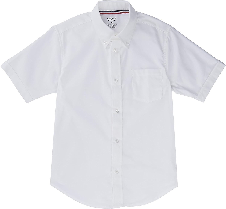 French Toast School Uniform Boys Short Sleeve Oxford Shirt White 3T