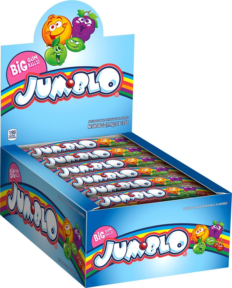 Rain-blo Bubble Gum Balls, 2.5 Ounce Tube, Pack of 24