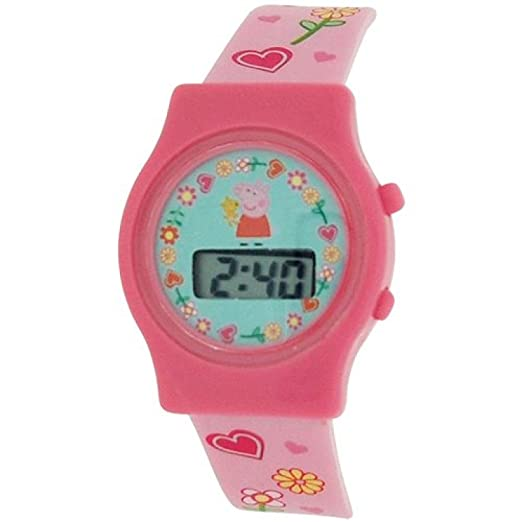 Los niños de las muchachas Peppa Pig - reloj Digital de la fecha de la correa de la hebilla con silicona PP009: Amazon.es: Relojes
