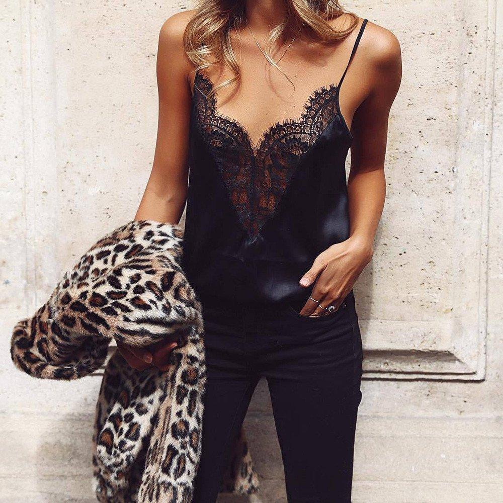 2019 Women Tank Blouse T-Shirt,Ladies Lace Vest Sleeveless Loose Crop Tops (M, Black) by Woaills-Dress (Image #3)