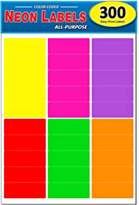 Pack of 300, 1 x 2-5/8 Inch Multi-Color Mailing Address Labels for Laser and Inkjet Printers, Rectangle, Assorted Neon Fluorescent Colors, 1 x 2.625 in.