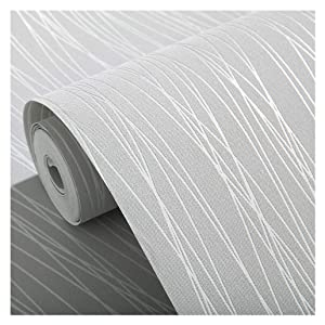 Blooming Wall:Non-Woven Classic Plain Stripe Moonlight Forest Wallpaper,20.8 In32.8 Ft=57 Sq ft Per Roll,Silver Grey