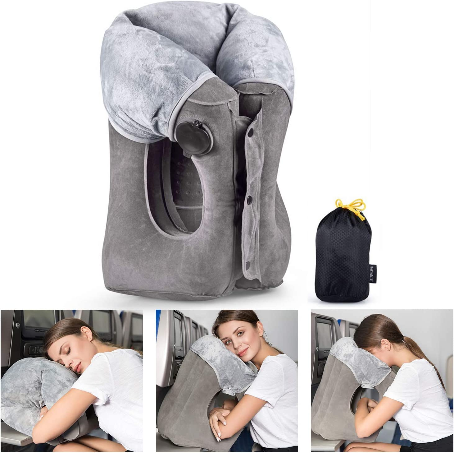 Inflatable Travel Pillow Upgraded Airplane Pillow Head and Neck Rest Pillow for Journey Easy to Inflate and Deflate Flight Pillow with Super Big Valve, Soft Cover and Portable Storage Bag (Grey)