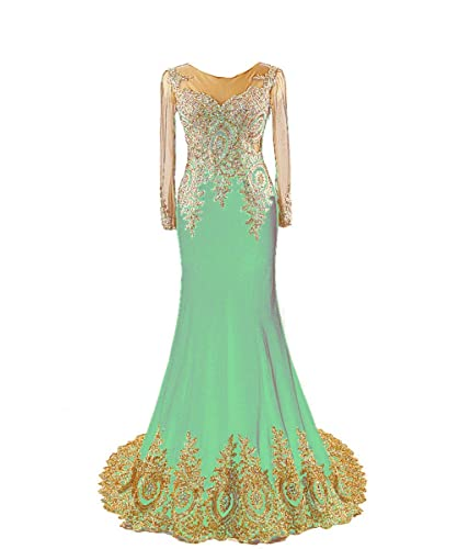King's Love Women's Long Sleeve Rhinestone Mermaid Evening Dress
