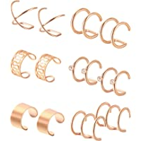 6 Pairs Stainless Steel Ear Clips Non Piercing Earrings Hoop Ear Cuffs Cartilage Ear Clips Set for Men Women, 6 Various Styles