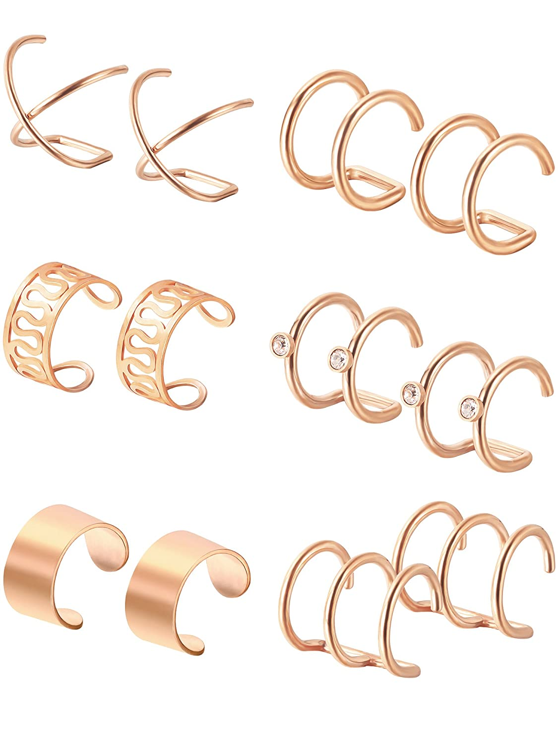 Hestya 6 Pairs Stainless Steel Ear Clips Non Piercing Earrings Hoop Ear Cuffs Cartilage Ear Clips Set for Men Women, 6 Various Styles 6 Various Styles (Gold) Hestya-Ear Clips-01