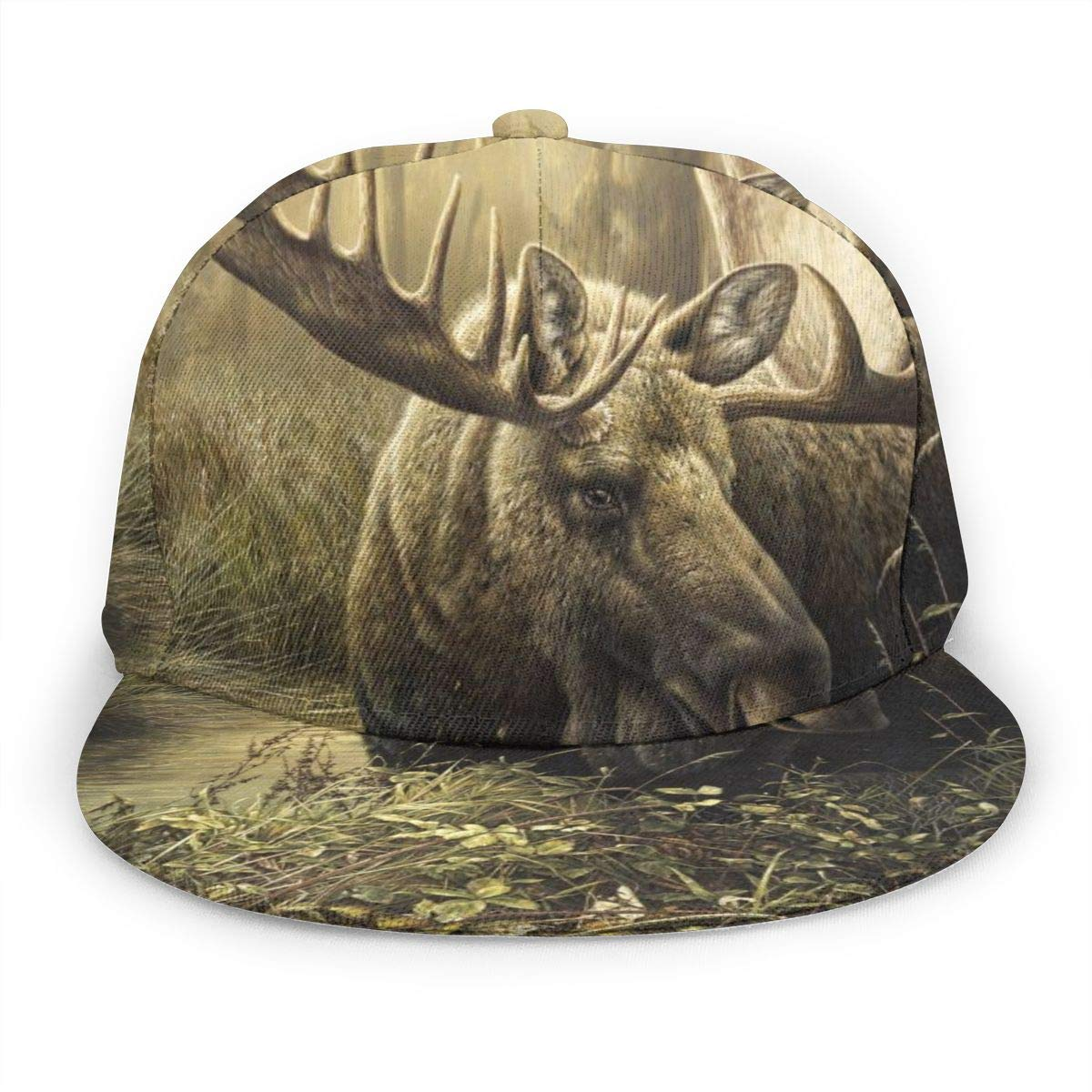 Moose Painting Girl Adult Cap Adjustable Cowboys Hats Black