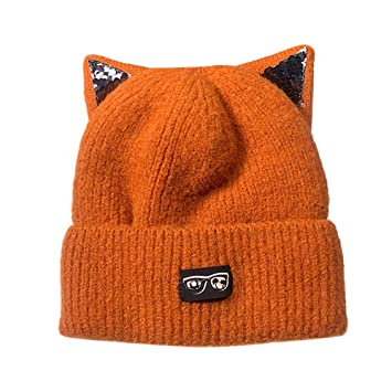 ab48586db18b9 Amazon.com   Seamount Cat Ear Knitted Wool Hemming Hat Winter Warm for Women  (Orange)   Beauty