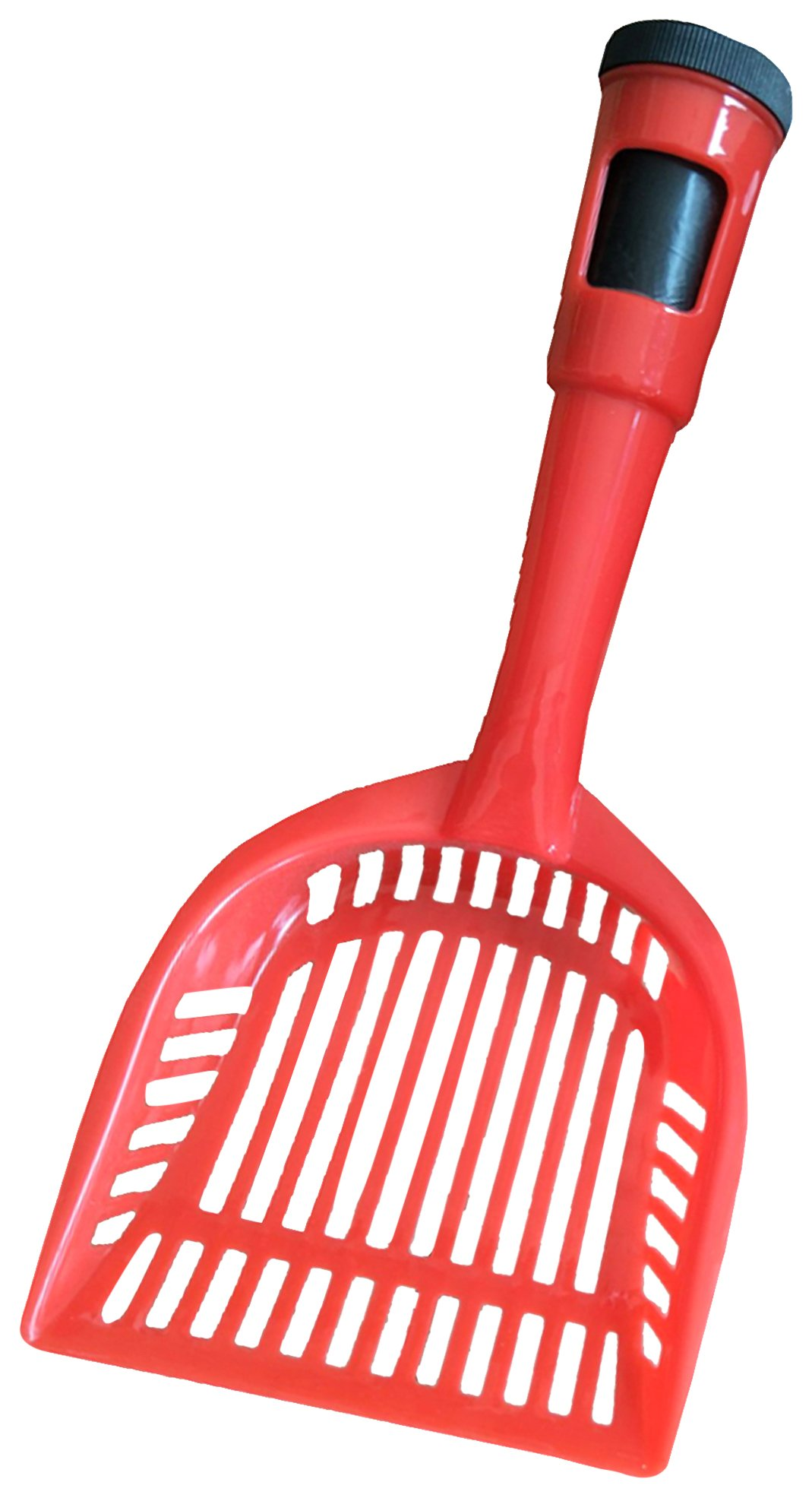 Pet Life Poopin-Scoopin' Dog and Cat Kitty Litter Waste Pooper Scooper Shovel w/Built-in Waste Bag Holder, One Size, Red