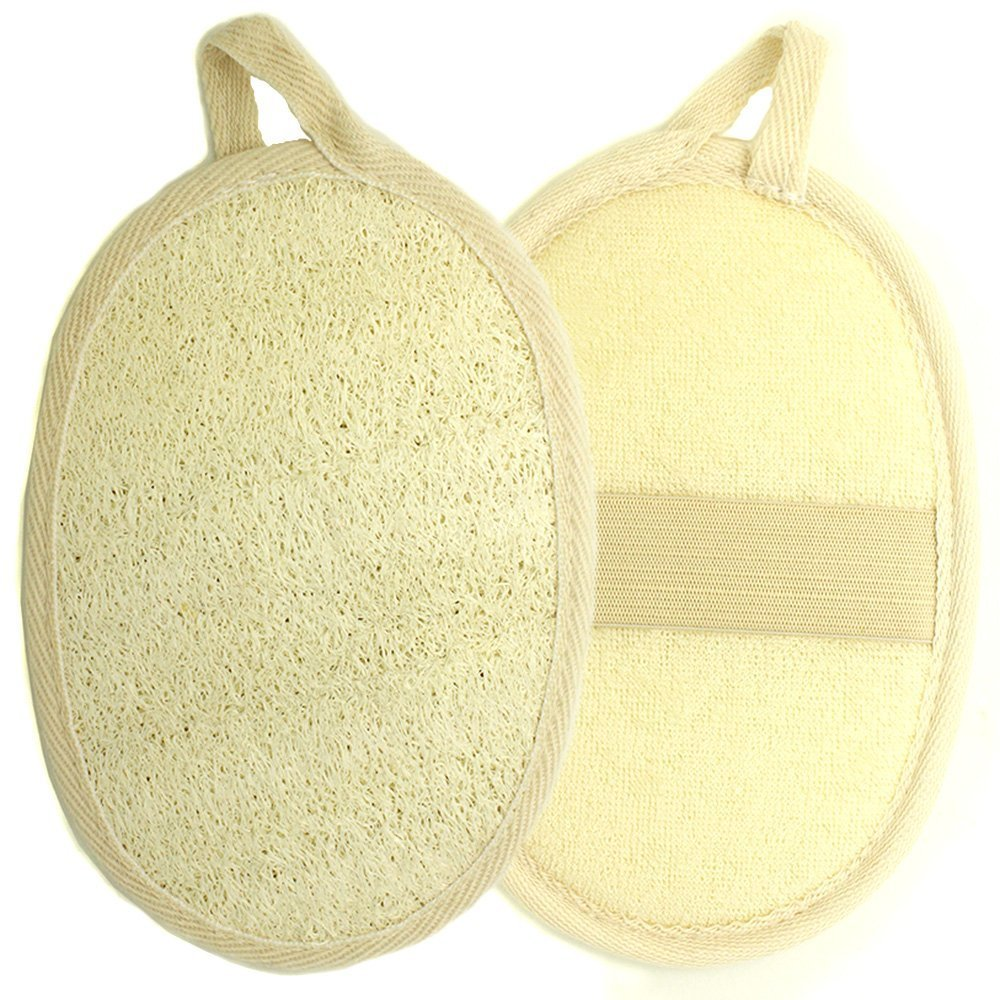 Kiloline Exfoliating Loofah Pads-2 Pack 100% Natural Luffa and Terry Cloth Materials Loofa Sponge Scrubber Brush Close Skin For Men and Women When Bath Spa and Shower KL-SG-02