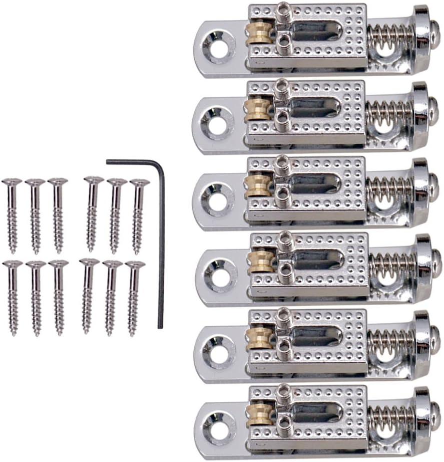 6 Piezas Montura Bridge Individuales Piezas de Repuesto para Guitarras Eléctirca - Plateado