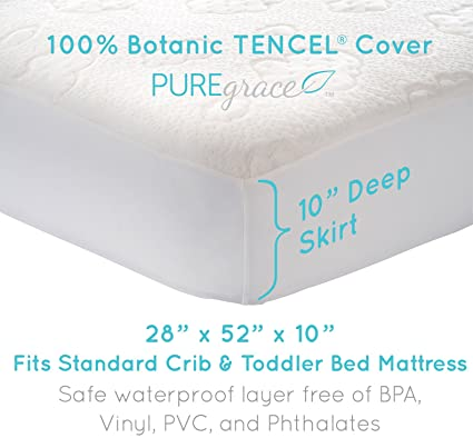 """PUREgrace Crib Mattress Protector (28"""" x 52"""") made with All Natural Hypoallergenic TENCEL, Soft and Breathable"""