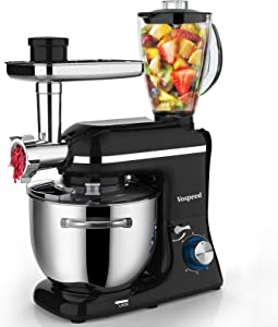 Vospeed 3-IN-1 Stand Mixer, 850W Tilt-Head Multifunctional Electric Mixer with Dishwasher-safe 7.5 QT Stainless Steel Bowl, Beater, Hook, Whisk, Meat Grinder and Juice Blender with 1.5L glass jar (Black)