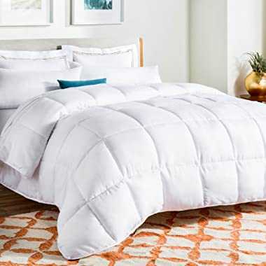 Linenspa All-Season Down Alternative Quilted Comforter - Hypoallergenic - Plush Microfiber Fill - Machine Washable - Duvet Insert or Stand-Alone Comforter - White - King