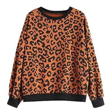 pas cher pour réduction belle et charmante 100% d'origine YEBIRAL Pull Femme Automne et Hiver Col Rond Imprimé léopard Manches  Longues Sweat-Shirt Top