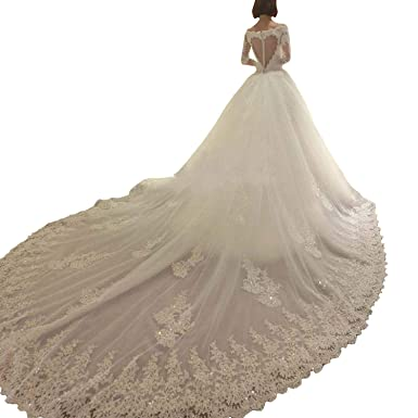 d730a0588f8 Yuxin 2019 Lace Wedding Dresses Long Train Ball Gown Appliques Long Sleeves Bridal  Gowns Ivory