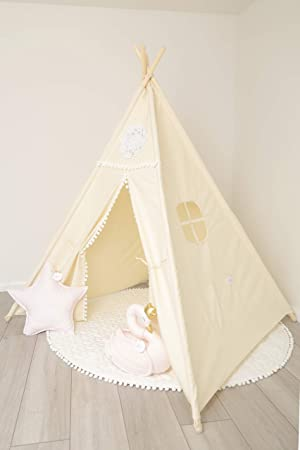 super popular 87922 6b058 Babos Hanga Kids Teepee Tent Handmade Childrens,Toodler,Kid,Baby,Indian  Tipi for Indoor and Outdoor Play-Girls and Boys Decorate-Durable Beige  Canvas ...