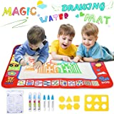 YEEGO DIRECT Doodle Drawing Mat, Large Size Aqua Doodle Magic Water Painting Doodle Mat 32''x24'' with 4 Colors 6 Pens 6 Molds Booklet Coloring Mat for Boy Girl(Large Size)