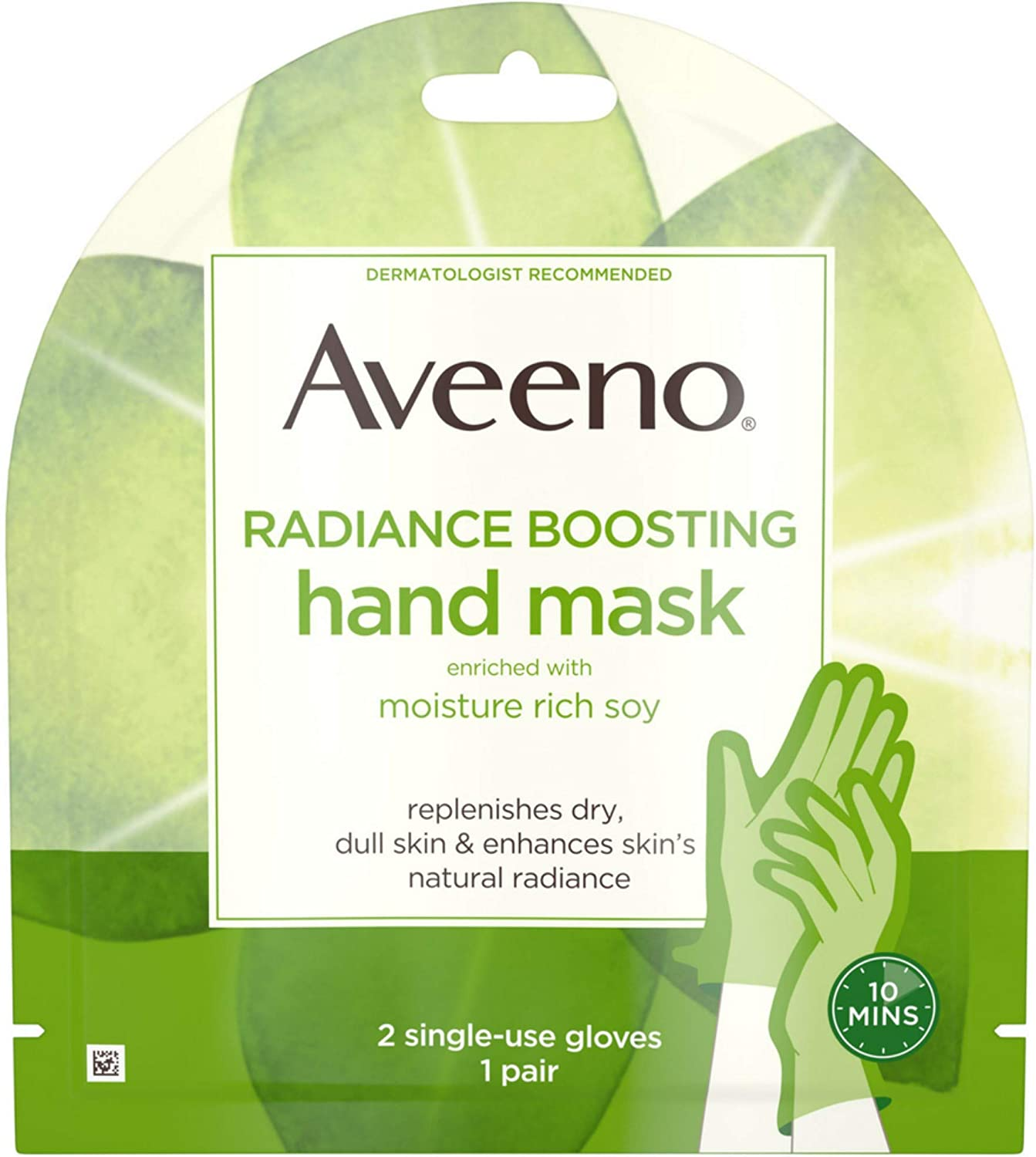 Aveeno Radiance Mask with Moisture Rich Soy, Moisturizing Hand Gloves to Replenish Dry Dull Skin, Paraben-Free, 2 Single-Use Gloves 1 ea Johnson & Johnson