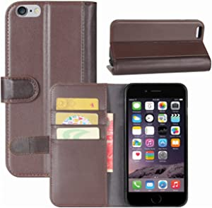 iPhone 6s Plus Case, Fettion Genuine Leather Wallet Flip Phone Protective Case Cover with Card Slots for iPhone 6 Plus/iPhone 6S Plus Smartphone (Brown)