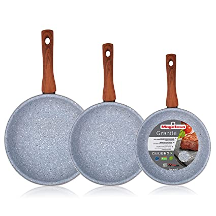 Magefesa Marmol - Set Juego 3 Sartenes 20-24-28 cm inducción antiadherente granito