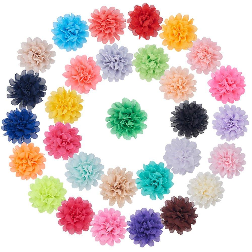NBEADS 30Pcs di mano tessuto chiffon fiori 11,2cm costume accessori per fasce, matrimoni e altri lavoretti fai da te, colore misto