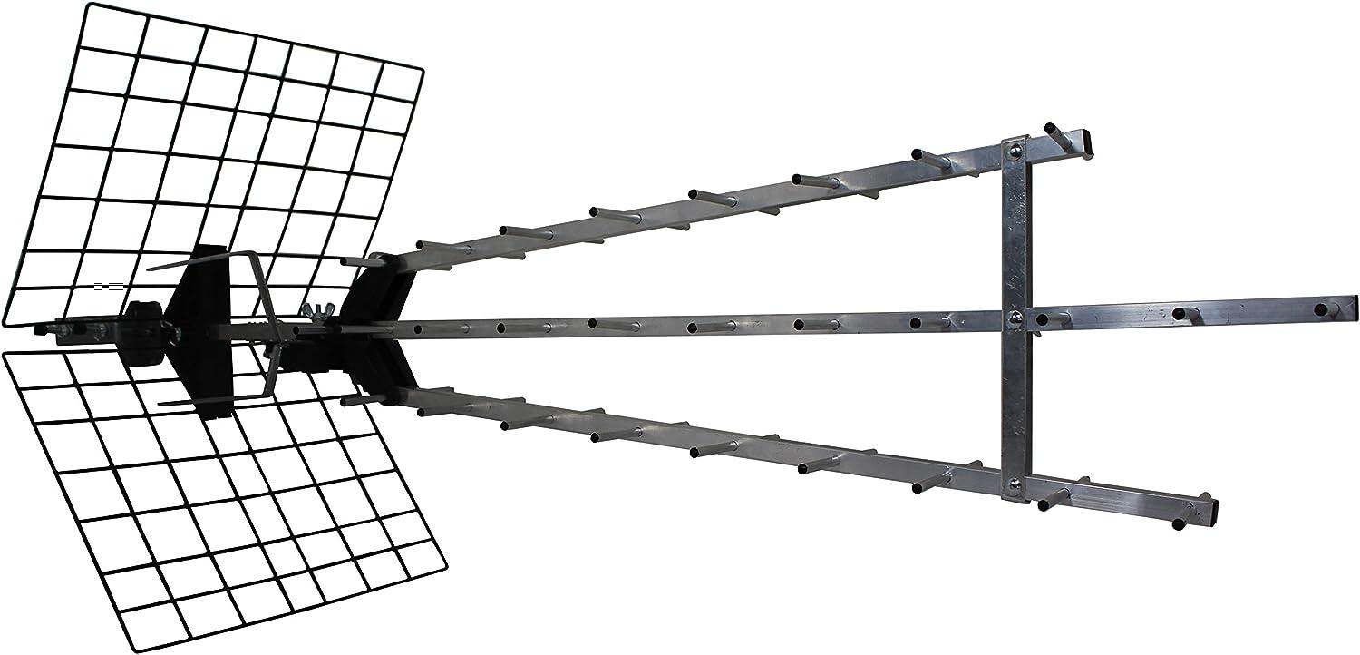 Metronic 415049 Antenne d'extérieur Trinappe amplifiée 57 dB - filtre 4G - UHF - 4K HD