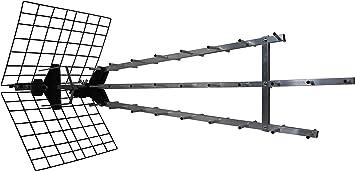 Metronic 415049 - Antena UHF triple amplificada, ganancia: 57dB, 28 elementos, conexión toma F, 4K ready