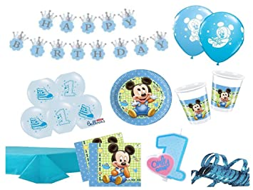 Xxl Party Deko Set 1 Geburtstag Mickey Baby Kindergeburtstag Fur 16