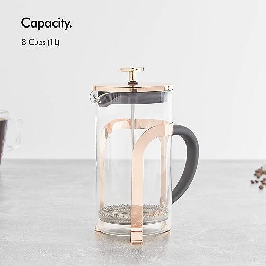 VonShef French Press 8 Tassen Kaffeebereiter Glas//Kupfer Cafetiere Kaffeekanne Teebereiter