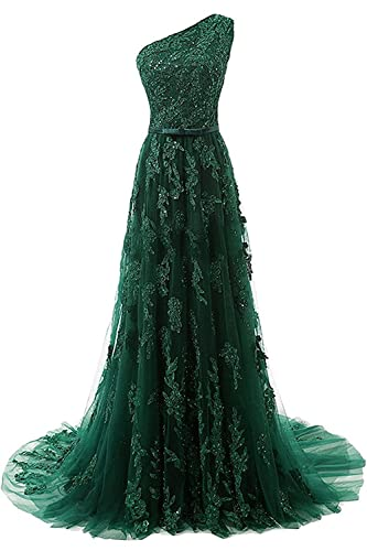 HEIMO Women's One Shoulder Evening Party Gowns Lace Appliques Formal Prom Dresses Long H107