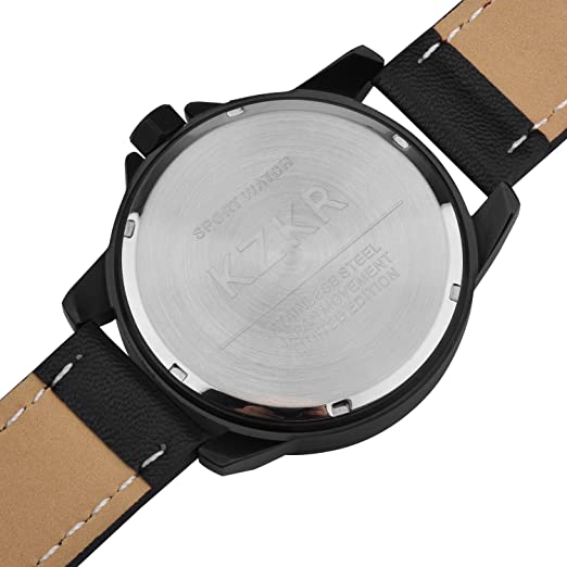 Relojes para Hombre kzkr Reloj Cuero Classic Hombre Relojes Reloj Deportivo para Hombres Militar Hombre Reloj Hombres Analog 3D Piel Facial Cuarzo ...