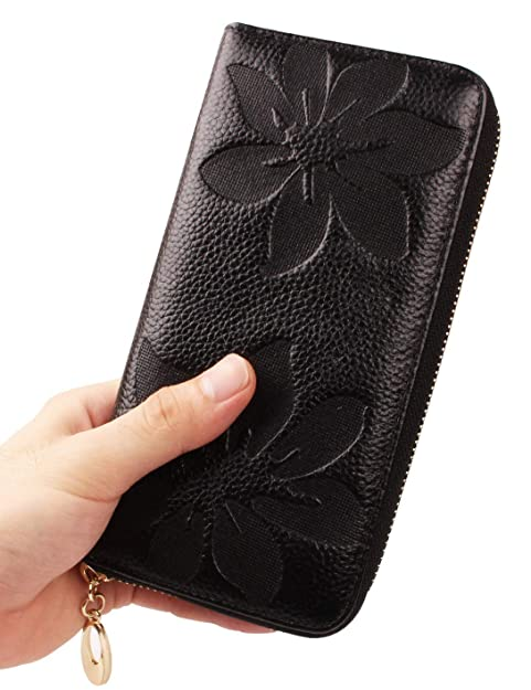 super popular 4b585 8f949 Ladies Leather Wristlet Wallet Clutch, Cell Phone Wallet Purse Iphone 7  Plus 6S Galaxy S7 Note 5