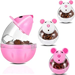 PORTOWN 4 Pcs Cat Food Ball Dispenser, Small Cat Food Balls Slow Feeder Mice Shaped Tumbler Cat Food Toy Cat Treat Toy Feeder Toy for Interactive IQ Treat Training(Pink,White)